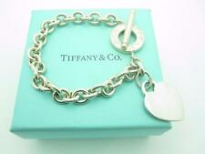 """Tiffany & Co. Sterling Silver Heart Tag Toggle Chain Link Bracelet 7.5"""" With Box"""