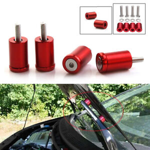 Red 1'' 8mm Billet Hood Vent Spacer Riser Kits For Car Engine Turbo Engine Swap