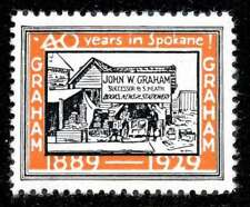 Usa Poster Stamp - Advertising John W. Graham - Stationer - Spokane, Wa - 1929