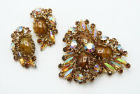 Vintage Delizza & Elster Rare Honey Malachite Brooch & Earring Set