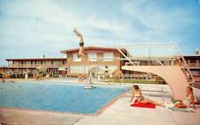 TROJAN MOTOR INN Troy, Ohio Swimming Pool Roadside ca 1950s Vintage Postcard