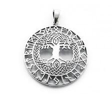 Anhänger Weltenesche mit keltischen Knoten und Runenband aus 925 Sterlingsilber!