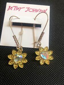 Betsey Johnson Gold Tone Arcylic Glitter Flower & Crystal Drop Earrings NWT