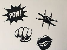 Fist,Lips,Barbed Wire, Pow, Decal Vinyl  Decor Wall Art Laptop Stickers X 4