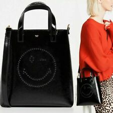 Anya Hindmarch Crossbody Black Bag Wink Smile Wink Small Tote Patent Leather