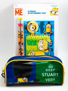 NEW Minions Despicable Me 5 Piece Stationery Set and Pencil Pouch