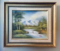 A Beautiful Oil on Canvas Painting Vintage Landscape Harmony Mountains And River