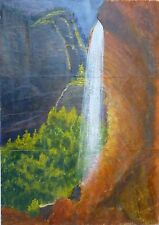 Original Landscape Painting on Paper Waterfall Mountain Forest Sun Light