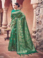 Indian Saree & Blouse Sari Bollywood Ethnic Green Woven Banarasi Art Silk -S2081