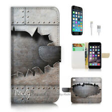 ( For iPhone 8 ) Wallet Case Cover P2350 Iron Wall