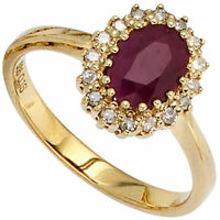 Ring Damenring mit Rubin rot 16 Diamanten Brillanten 585 Gold Gelbgold Goldring
