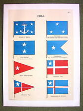FLAGS CHILE Naval Marine Vice Admiral Diplomatic - 1899 Color Antique Print