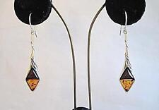 Deco Inspired Genuine 2 Tone Honey Amber Silver Drop Earrings