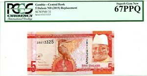 GAMBIA 5  DALASIS 2015 CENTRAL BANK GEM UNC PICK 31 LUCKY MONEY VALUE $67