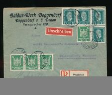 GERMANY 1924 REGISTERED MULTI FRANKING ENV.BALDUR WERK DEGGENDORF to FINLAND