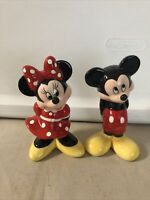 Ceramic Standing  Bashful MICKEY MOUSE And MINNIE MOUSE Figurine Set Of 2 Disney