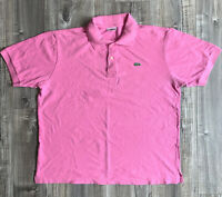 Lacoste Montalgne Size 7 Pink Polo Shirt Mens Collar Button Up Tshirt XL mens