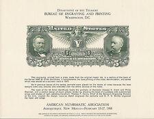 B46, $5.00 Silver Certificate reverse, Series 1896, BEP Souvenir Card!