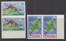 MAURITIUS SG415/6s 1970 LUFTHANSA FLIGHT IMPERF PAIR OVERPRINTED SPECIMEN MNH