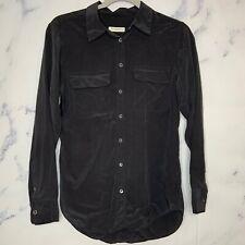 Equipment Femme Blouse S Small Black Long Sleeve Silk Button Front Womens B23