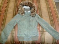 Hollister Women's Faux Fur Trim Hooded Winter Coat Parka Olive Green, Medium