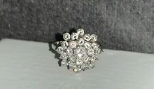 9ct White Gold Cubic Zirconia CZ Cluster Dress Ring, J,  Sizable, 3.6 grams