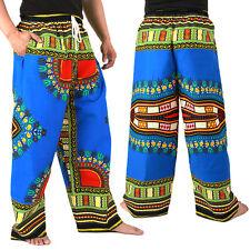 Dashiki African Pants Cotton Aladdin Yoga Harem Unisex BOHO Blue ap01s