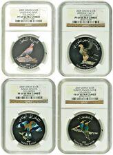 2009 Oman Set 4 Silver Colorized Coins 1 Rial Birds NGC PF69 Box COA Rare
