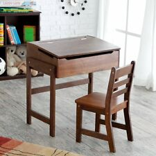 Schoolhouse Desk and Chair Set -, Walnut, 1