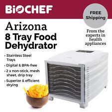 BioChef 8 Tray Food Dehydrator - Digital Timer & Thermostat Control - White