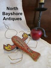Antique Vintage Nautical Folk Art Handmade Painted Wooden Lobster Fishing Lure