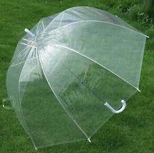 Paraguas transparente de copa mango blanco