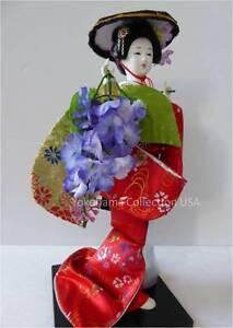 "Japanese 12"" H Geisha Doll FUJI MUSUME Brocade Kimono Odori Doll"