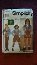 1997 Simplicity Sewing Pattern 7777 Brownie Girl Scout Uniforms Size Hh 6,7,8,10