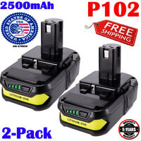 2PCS P102 For Ryobi P105 P107 P109 One+ 18V Lithium-Ion Battery P106 P122 2.5Ah
