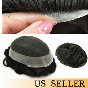 French Lace Mens Toupee Poly Skin Around Hairpiece Human Hair System Replacement