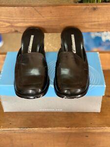cloud 9 by nine west sz 7 bordero black leather slides/clogs, 2 1/2 in. heel.