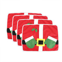 4X/Set Red Christmas Decorations Placemats Table Runners Mats Xmas Home Ornament