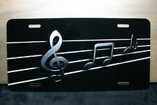 MUSIC NOTES NOVELTY LICENSE PLATE FOR CARS AND SUV'S METAL ALUMINUM