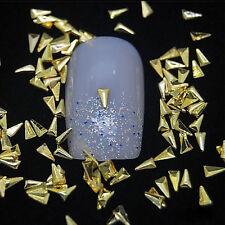 100pcs Gold /Silver Triangle 3D Metal Nail Art Rhinestone Studs Decor Tool CWSEG