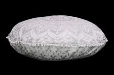 Indian White Silver Ombre Mandala Cotton Floor Pillow Cover Round Cushion Cover