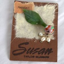New Handcrafted Glass Art Artifact Brooch Pin by Susan Taylor Glasgow Leaf Beads
