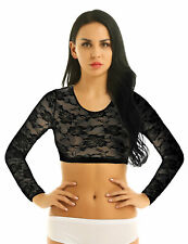 US Women Lace Floral Sheer Crop Top T-shirt Long Sleeves Scoop Neck Blouse Shirt