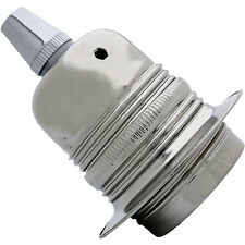 E27 Metal Earthed Pendant Bulb Holder in Nickel Finish + Metal Cord Grip