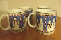 Set of 4 Sakura Snowman Debbie Mumm Christmas Tea Coffee Mugs Excellent