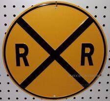 "Rail Road Crossing Embossed 12"" Tin Sign Garage Man Cave RR Railroad"