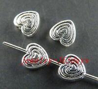 50pcs Tibetan Silver Little Heart Spacer Beads 6x6x3mm 10742