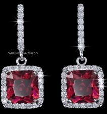 Princess Radiant Cut RUBY Micro Pave Set Halo Dangle Signity Cz Drop Earrings