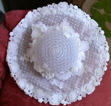 Late 1960`s early 1970`s Large Wedding Floral and Lace Picture Hat Bohemian