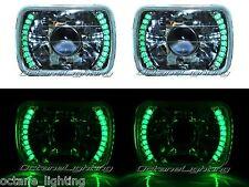 7X6 Green LED Halo Projector Halogen Crystal Headlights Angel Eye H4 Light Bulbs